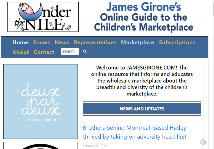 Screenshot of James Girone's Online Guide to the Children's Marketplace